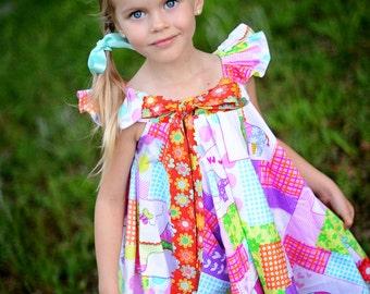 Dress - Maui Dress - Summer Dress - Twirl Dress - Bow Dress - Made to Order - Girls Clothing - 70' Dress Pattern - 2T to 7