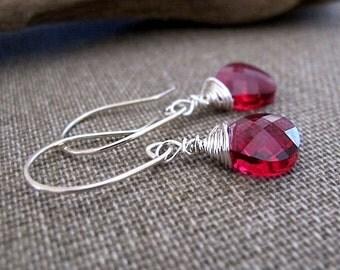 Ruby Swarovski Crystal Dangle Earrings - Sterling Silver Wire Wrapped Teardrop Briolettes - Red Crystal Earrings - Briolette Earrings