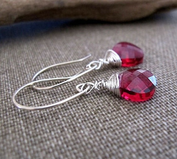 Ruby Swarovski Crystal Dangle Earrings - Sterling Silver Wire Wrapped Teardrop Briolettes - Red Crystal Earrings - Briolette Earrings