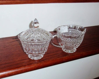 Set GODINGER BRANDON CREAMER Sugar Bowl Lidded Covered Heavy Cut Crystal Glass Clear Thumbprint Criss Cross Excellent Condition