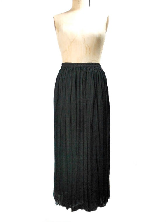 vintage 1990s sheer pleated maxi skirt express black