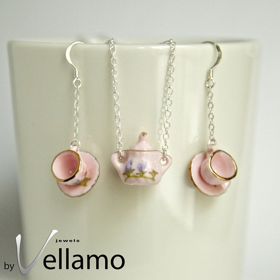 Sterling silver necklace, pendant and earrings: delicate sterling silver sugar pot pendant and teacup earrings, porcelain, pink