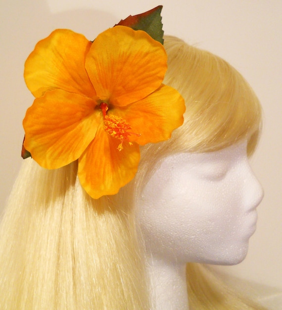 Large Hibiscus Hair Clip, Yellow Golden, Orange, Real Looking, Hawaiian, Luau, Rockabilly, Tiki, South Pacific, Retro, Flamingo, Photo Prop