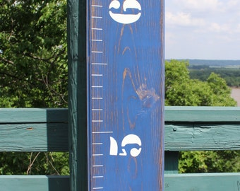 Weathered Distressed Growth Chart Ruler With A Personalized Engraved Name