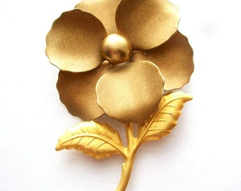 Vintage Gold Flower Brooch Collectible Jewelry Accessories Wedding Bridal Brooch Bouquet