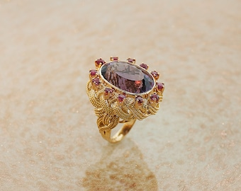 Vintage 18k Yellow Gold Amethyst and Ruby Ring
