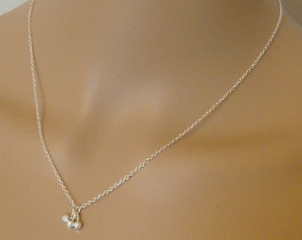 Delicate Minimalist silver necklace with frosted silver charms beads / everyday necklace