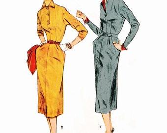 "1954 Vintage Dart-Fitted Sheath Dress, Button Neck, Slim Skirt, Front Yoke Pockets, Contrast Collar/Cuffs Option, Simplicity 4794, Bust 32"""