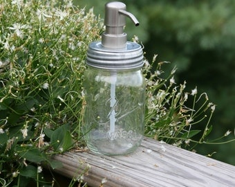 Mason Jar Soap Dispenser with Metal Stainless Pump - Clear Pint Jar Lotion Bottle - Ball Mason Canning Jar