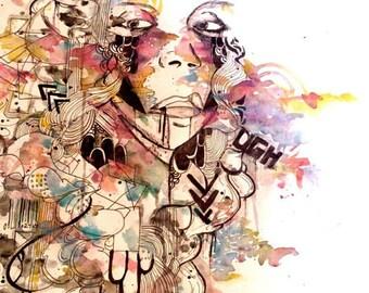 4x6 inch psychedelic art, watercolor art print abstract portrait art illustration, portrait print art, portrait art