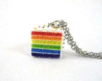 Rainbow Cake Necklace, Miniature Food Jewelry