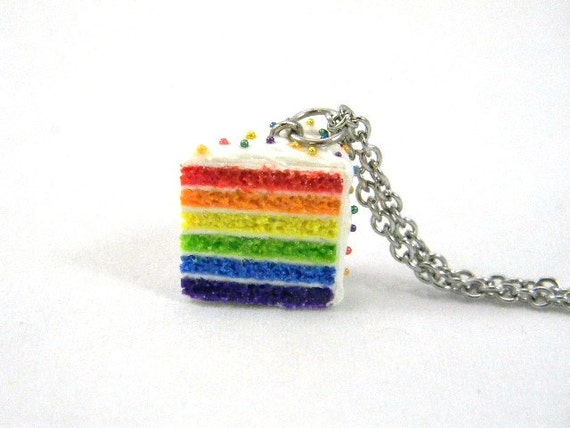 Rainbow Cake Necklace, Miniature Food Jewelry, LGBT Jewelry, Kawaii Dollhouse Necklace