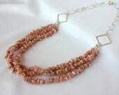 "SALE- Multi Strand ""Colorado Girl"" Rhodochrosite Necklace, Pink Necklace"