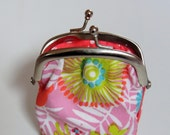SALE - Multicolor change purse with metal frame - On sale - Free shipping