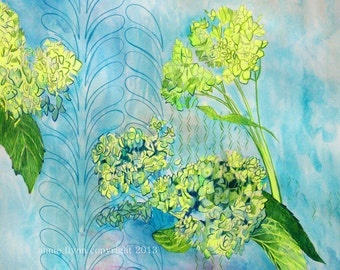 """Archival Print of Original Mixed Media """"Hydrangeas in Citron and Turquoise"""""""