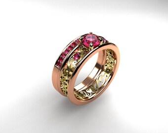 Pink sapphire engagement ring set, rose gold, yellow gold, filigree engagement, pink, sapphire wedding, unique, wedding set
