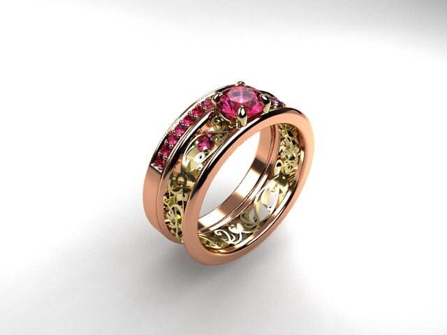 Pink Sapphire Engagement Ring Set Rose Gold By TorkkeliJewellery