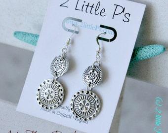Boho, Aztec Earrings, Double Dangles, Gift for Her, Cool Jewelry, Aztec Flower Earrings