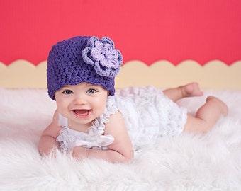 Purple Baby Hat Newborn Baby Girl Hat Newborn Baby Hat Crochet Flower Hat Flapper Beanie Grape Lavender Baby Girl Clothes Spring Photo Prop
