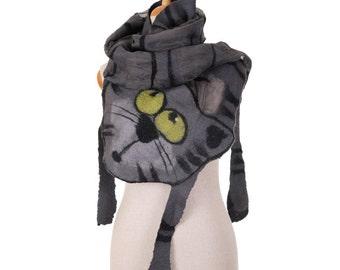SALE!!!  gray scarf nuno felted, curious cat - silk eco wool nunofelted scarf, wearable felted artistic shawl, felted wool wrap scarf