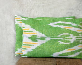 12x18 cushion cover, SET OF TWO, cotton ikat fabric, apple green with white and yellow, with golden shimmer, made in Uzbekistan