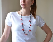 Crochet Necklace Oya Red Flowers Black Natural Stones Oya Beaded Jewelry Jewellery, Beadwork Crochet ReddApple, Fast Delivery