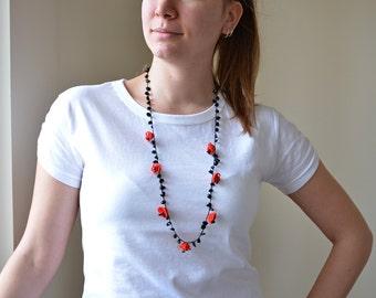 Red Christmas Necklace, Oya Beaded Necklace, Crocheted Necklace, Boho Flower Collar, Crochet Jewelry, Beadwork, Women's Gift,ReddApple