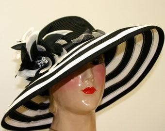 WIDE BRIM Kentucky Derby Hat, Medium Brim Women Straw Hat, Black and White Hat