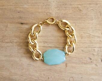 Chunky Gold Chain Bracelet with Turquoise Aqua Blue Charm, Lightweight Bracelet, Gold Link Bracelet