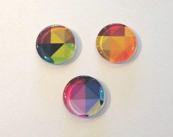Colorful geometric round glass fridge magnets - set of 3 - orange, purple, green