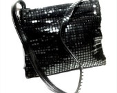 Vintage Whiting and Davis -Esq Black Lucite Mesh Hinged Hobo Handbag Purse & Dust Bag by LUMERED