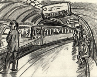 In the Metro. 9x12 Original Charcoal Drawing, Modern Contemporary Expressionist Fine Art, Signed Original