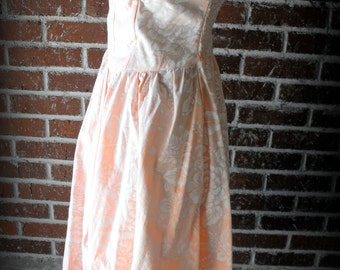 CLEARANCE Vintage Peach and White Floral Strapless Party Dress Medium