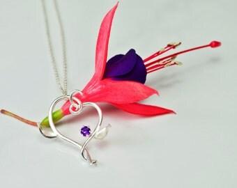 Handmade Vine Heart Amethyst Necklace, Valentine Necklace, Sterling Silver Eco-friendly Valentine