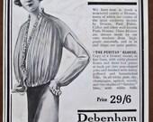 Debenham and Freebody, 1913, vintage, ad, original, blouse, fashion, English, advertisement, free worldwide shipping, paper, ephemera