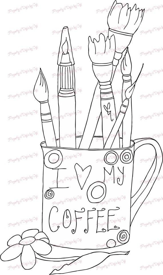 Picture of a Coffee Cup Digital Stamp for Sale