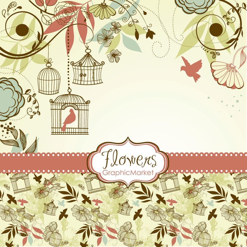 Wedding Boarder Paper: 14 Flower Designs Digital Paper And A Floral Border Clipart