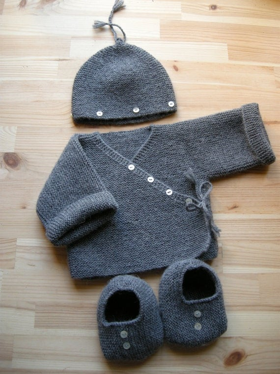 SHANI mérino - Newborn Baby Set - Baby mérino yarn - Dark Grey - Made to order