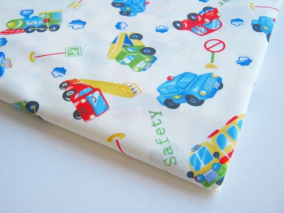 Boy Toy Fabric White Japanese fabric with colorful cute Red car, bus, truck, Blue Taxi, Baby shower, boy, kid, toy, pillow cover, curtain