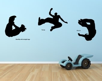 Wall Decal Parkour Set Of Three Decals With Title Wall Decal Sticker Vinyl Home Decor Office Decal