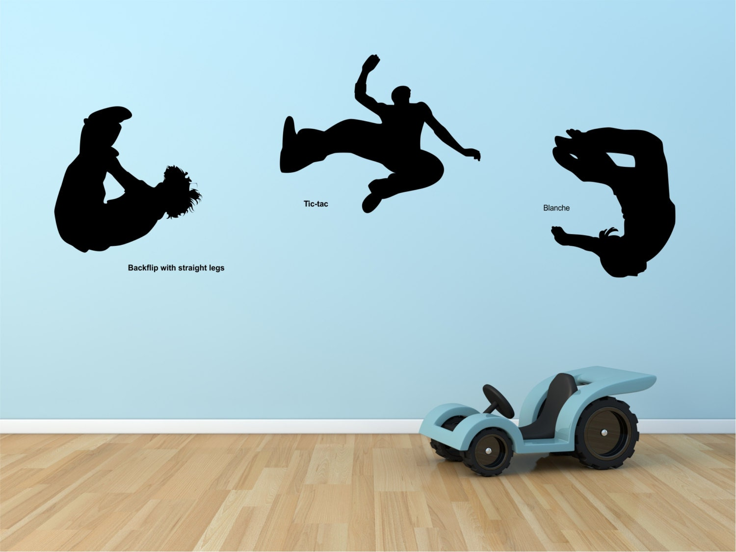 wall decal parkour set of three decals with title wall decal