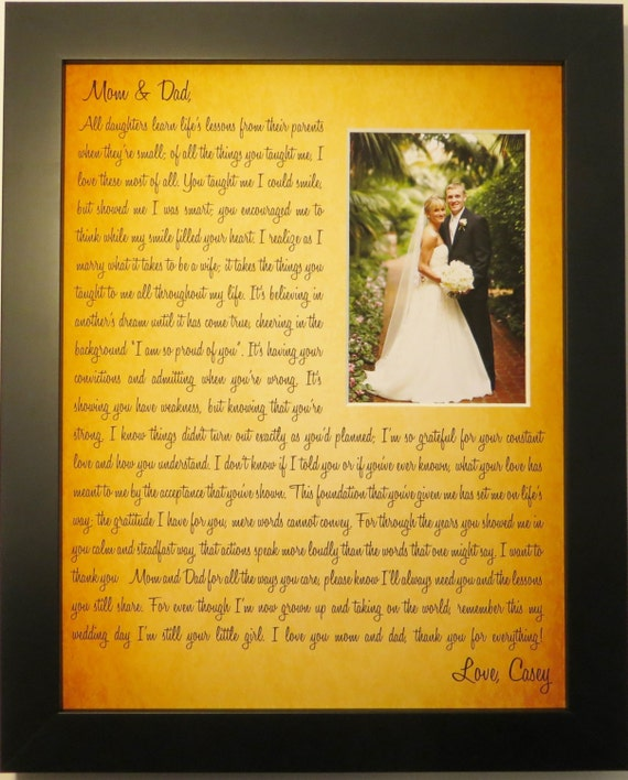 Wedding Gift Parents Personalized From Bride Groom: Custom