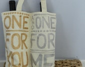 Double Wine Bottle Tote- Reusable Hand Painted Canvas Tote