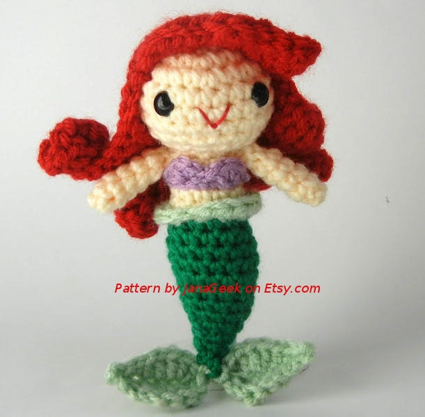 Amigurumi Little Mermaid : Little Mermaid Amigurumi Doll Crochet Pattern by JanaGeek ...
