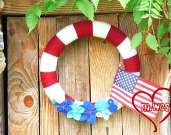 Patriotic Yarn Wreath, Red White and Blue, Americana, 4th of July, Independence Day, Flag Wreath,  July Fourth Home Decor
