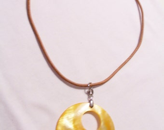 CLEARANCE - Large yellow shell pendant necklace - yellow necklace - shell necklace - yellow shell jewelry - yellow pendant