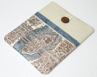 MacBook Case ,  Laptop Sleeve, Macbook Pro, Air or Retina. Old Paris Map, travel laptop case, computer case, travel laptop sleeve