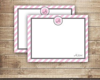 Monogram Personal Stationery / Personalized Monogram Thank You Note Card / Pink & Gray Stationery / Personalized Flat Note Card - Printable