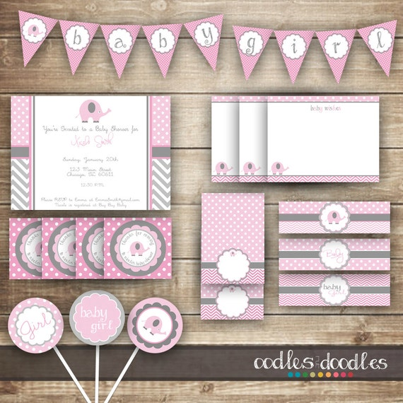 Elephant Baby Shower / Chevron & Polka Dots / Pink and Gray PARTY PACKAGE  / Baby Girl Party Kit - Printable