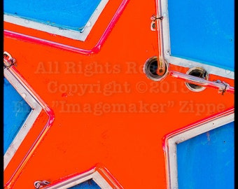 Orange Neon Star Art, Neon Photo Las Vegas Star Sign, Orange Blue Wall Art, Star Decor, Retro Photograph, Orange Star Fine Art Print